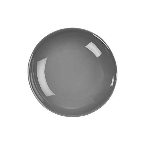 BUTLERS Sphere Teller-Set Tief 4 x Ø 21,5 cm in Grau - Bunte Pastateller 6er Set - Suppenteller Porzellan Set
