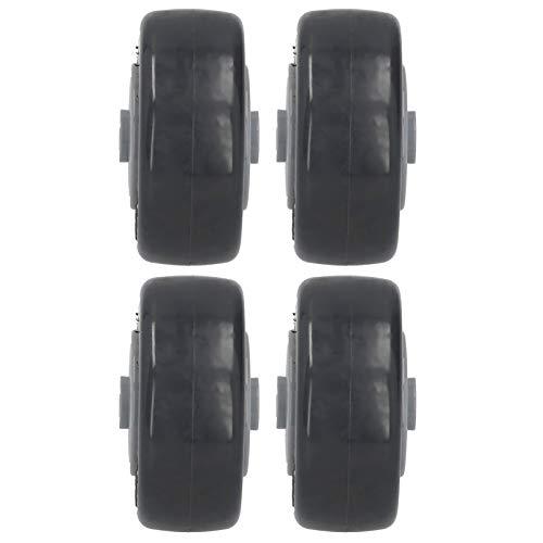 WanRomJun Ruedas De Silencio 4pcs Mute Rueda PU Anti-Windering Muebles Trolley Direccional Caster Hardware Herramientas 3in M Gray Black