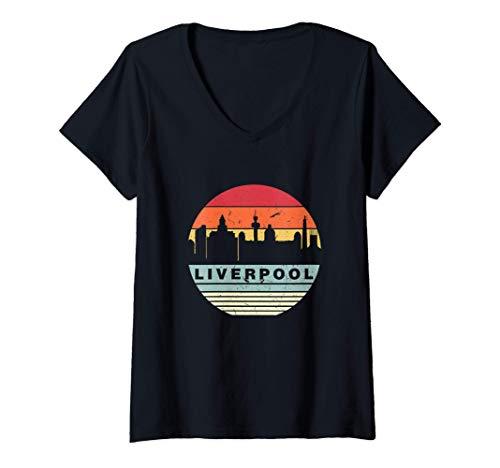 Mujer Retro Vintage A Juego Con De Liverpool Camiseta Cuello V