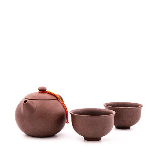 Yixing Teekanne mit 180 ml | Chinesische Teekanne aus hochwertigem Yixing Ton mit Zwei Tassen aus Yixing Ton | Zisha Teekanne (Braun-Lila)