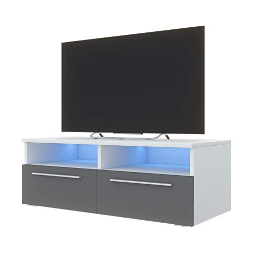 Siena - Meuble TV (100 cm, Blanc Mat/Fronts Gris Brillant avec LED Bleue)