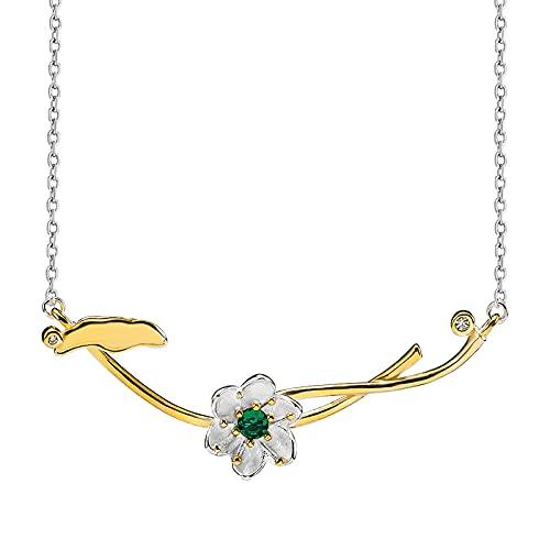 ShSnnwrl Collar Collar de Hoja de Loto de diseño Dulce Creativo para Mujer, Plata de Ley 925, joyería con Colgante de Lirio de Agua Chapado