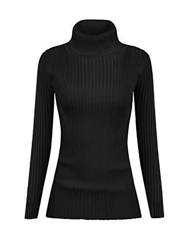 v28 Women Stretchable Turtleneck Knit Long Sleeve Slim Fit Sweater (S,Black)
