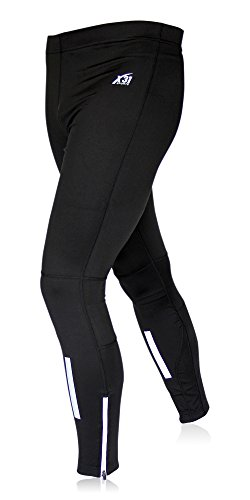 X31 Sports Mens Running Tights, Cycling Pants, Cold Weather Leggings with Zipper Pocket (Black, Medium)