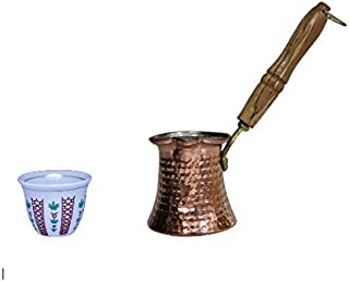 Traditional Style Set of 12 Turkish Arabic Coffee Cups Gawa + Hammered Copper Coffee Warmer with Wooden Handle (8 Oz Pot)