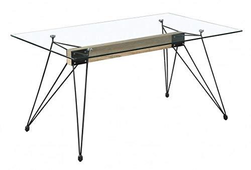 Mobelcenter - Mesa Cristal Spyder - Mesa Cristal Madera y Acero Negro - Mesa Cristal 140 x 90 cm - Mesa Cristal diseño Industrial - 1167