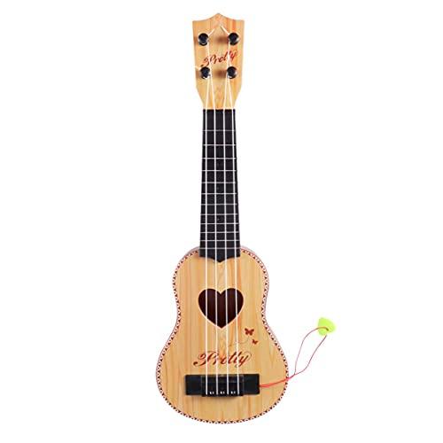 Ukulélé hawaïen à quatre cordes, mini guitare, instruments de musique, cadeaux pour débutants, enfants, amateurs de musique (marron foncé) (couleur : marron clair)