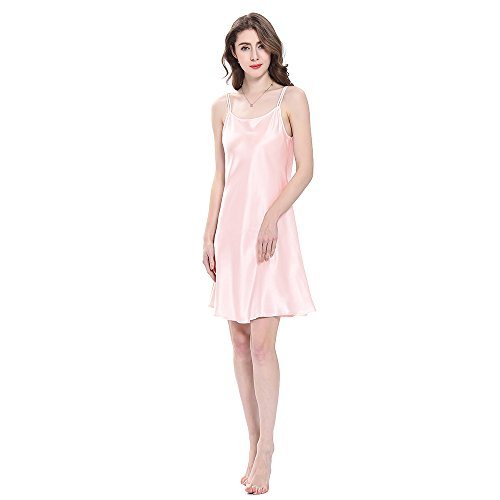 LilySilk Bezaubernd Seide Nachthemd Nachtkleid Nachtwäsche Damen Mini Kurz 16 Momme (M, Hell Rosa) Verpackung MEHRWEG