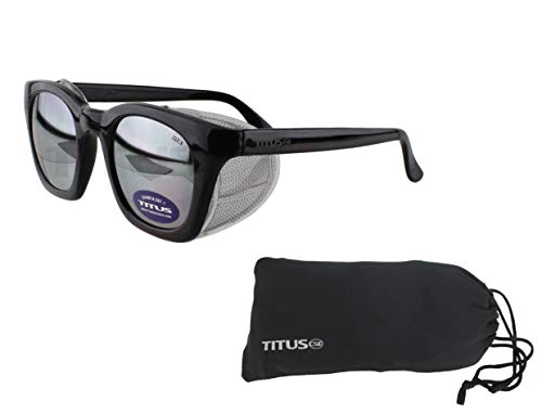 Retro Style Safety Glasses with Side Shield (With Pouch, Mirrored Lens - Gloss Frame)