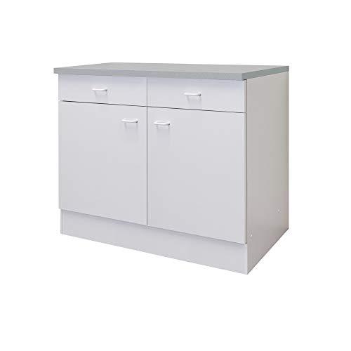 Flex-Well Küchenschrank BOCHUM | Unterschrank | 2-türig, 2 Schubladen | Breite 100 cm | Weiß