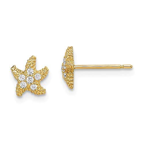 14K Yellow Gold Madi K Cubic Zirconia Starfish Post Earrings