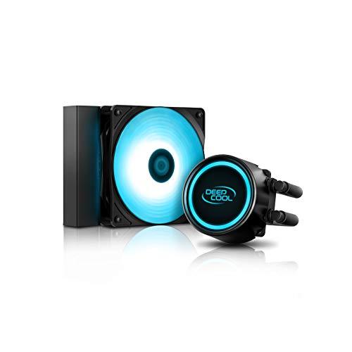 DEEP COOL GAMMAXX L120T Raffreddatore di Liquido AIO Blu, LED Blu su waterblock e Ventola, Tecnologia Anti-perdite all'Interno, Compatibile AM4, Garanzia di 3 Anni