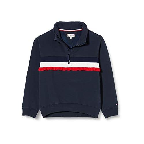 Tommy Hilfiger Girl's Ruffle Rib Half Zip Sweatshirt Sweater