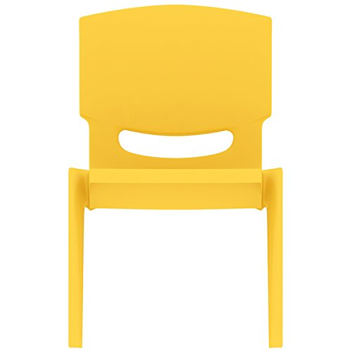 2xhome - Yellow - Kids Size Plastic Side Chair 10' Seat Height Yellow Childs Chair Childrens Room School Chairs No Arm Arms Armless Molded Plastic Seat Stackable