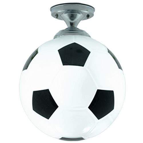 Fltaheroo BalóN de FúTbol HabitacióN para Ni?Os Vidrio Luz de Techo Led FúTbol HabitacióN para Ni?Os LáMpara Led Dormitorio Bar Luces de Techo IluminacióN para el Hogar-Negro + Blanco
