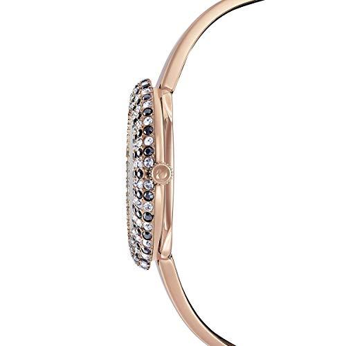 Swarovski Orologio Crystal Rose, Bracciale di Metallo, Nero, PVD Oro Rosa
