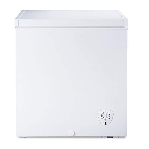 SMETA 5 Cu.Ft Chest Freezer with Removable Baskets Free-Standing Top Open Door Deep Freezer, White