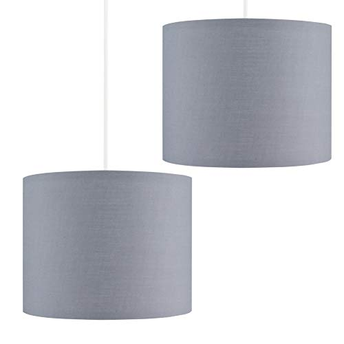 Pair of - 25cm Modern Grey Polycotton Ceiling Pendant/Table Lamp Drum Light Shades
