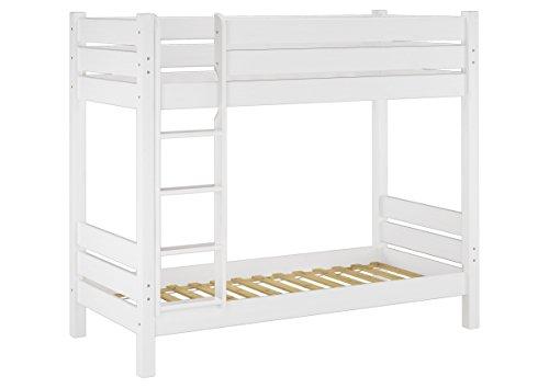 Solido letto a castello in pino Eco anche per Adulti 90x200 Bianco 60.16-09 W