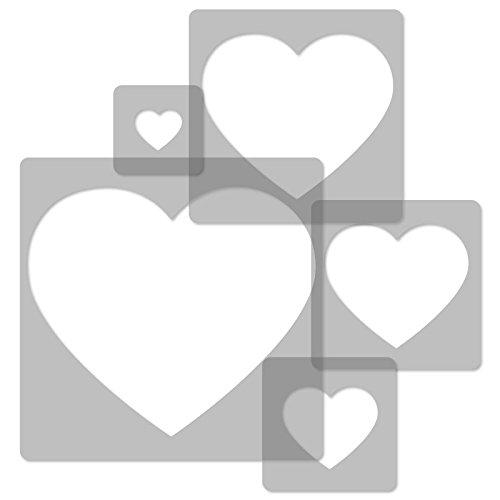 5 Stück wiederverwendbare Kunststoff-Schablonen // HERZEN // 34x34cm bis 9x9cm // Kinderzimmer-Dekorarion // Kinderzimmer-Vorlage