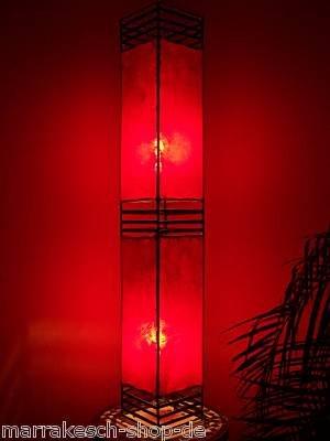 Orientalische Stehlampe Koutoubia Rot 120cm Lederlampe Hennalampe Lampe | Marokkanische Design Stehlampen aus Metall, Lampenschirm aus Leder | Orientalische Dekoration aus Marokko, Farbe Rot