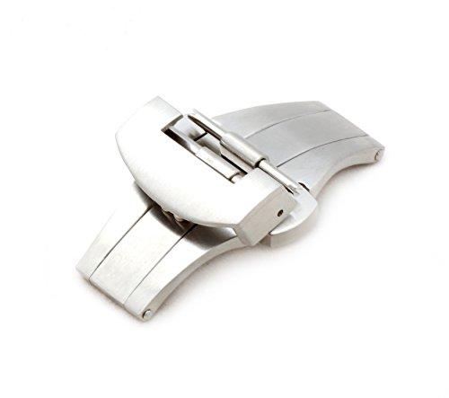 BOB Unisex Faltschließe L316 Edelstahl kompatibel Panerai Uhrenarmbänder 22 mm silberfarben, matt
