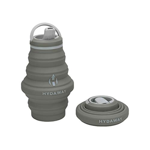 HYDAWAY Collapsible Water Bottle, 17oz Spout Lid | Ultra-Packable, Travel-Friendly, Food-Grade Silicone (Thunder)