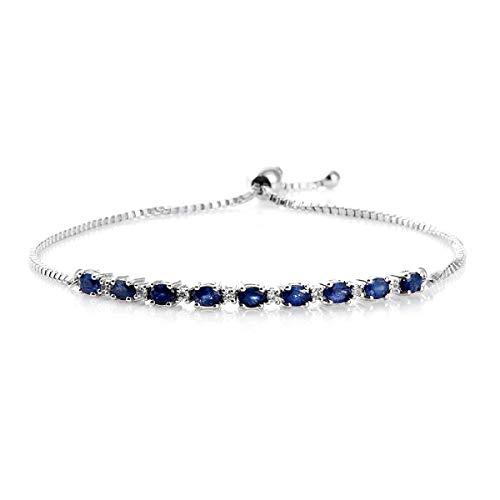 Pulsera nupcial chapada en platino de plata de ley 925 con zafiro azul de 4,5 quilates