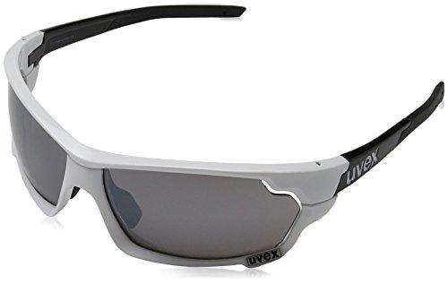 Uvex Erwachsene Sportstyle 702 Sportsonnenbrille, White Black/Lens Clear/Litemirror Orange/Litemirror Silver, One Size