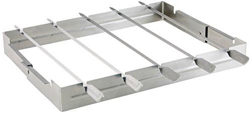 Grillspießhalter Universal mit 5 Edelstahl-Spießen Grill Zubehör Spieß-Halterung matt spülmaschienen-geeignet