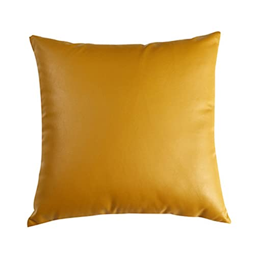 KenKia Lujosa funda de cojín de piel sintética impermeable y resistente a las manchas, para patio, dormitorio, sala de estar, sofá, jardín (color caramelo, 30 x 50)