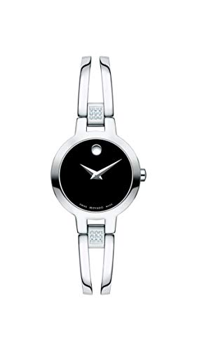 Movado Women's Amorosa Watch with Concave Dot Museum Dial and Diamond Accents, Silver/Black (607154)