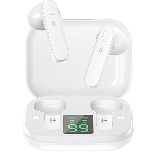 Fones de ouvido QUANXI R20 sem fio, fones Bluetooth 5.0,Fones de ouvido estéreo TWS com tela LED inteligente, microfone integrado com graves profundos,fone ouvido bluetooth para esportivos,Branco