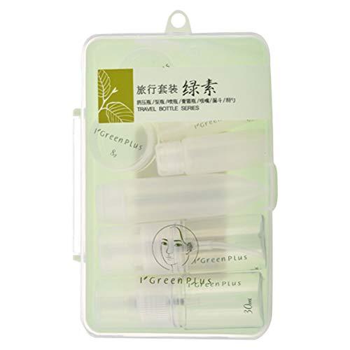 Minkissy - Juego de 9 botellas de viaje de maquillaje, botellas de dispensador vacías, rellenables, soporte de loción para viajes al aire libre, color verde claro