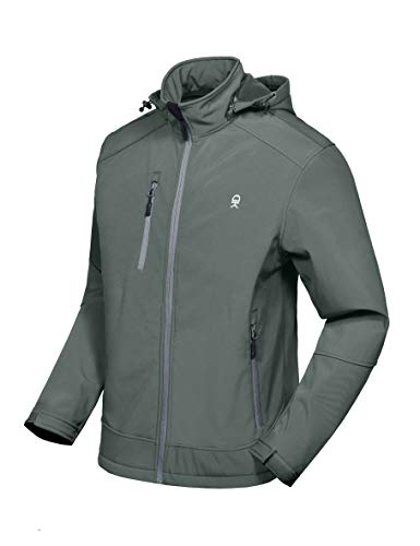 Little Donkey Andy Men's Softshell Jacket with Removable Hood, Fleece Lined and Water Repellent Gray Size XL