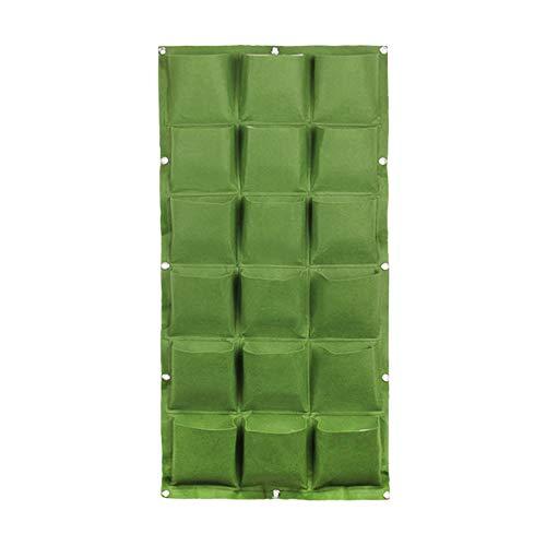 SFGHOUSE Bolsas de cultivo para colgar en la pared, verticales, para jardín, para exteriores, interiores, 9/18/36 bolsillos (50 x 100 cm), color verde