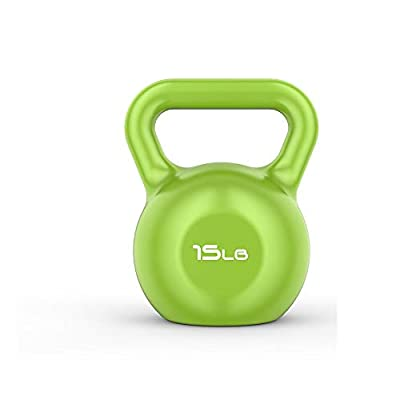 SimpleL Color Kettlebells Vinyl Coated Solid Iron Exercise Weight Training Workout Equipment for Men & Women, Core Strength, Functional Fitness 5lbs, 10lbs, 15lbs, 20lbs (Green - 15 LB)