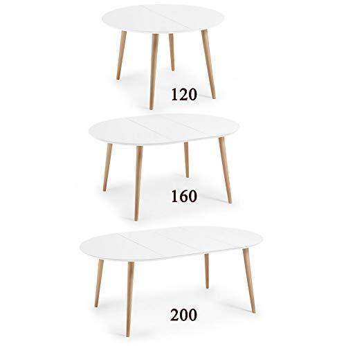 HABITMOBEL Mesa Comedor Extensible de 120 a (160 a 200) x 90 cm (3 Medidas en 1)