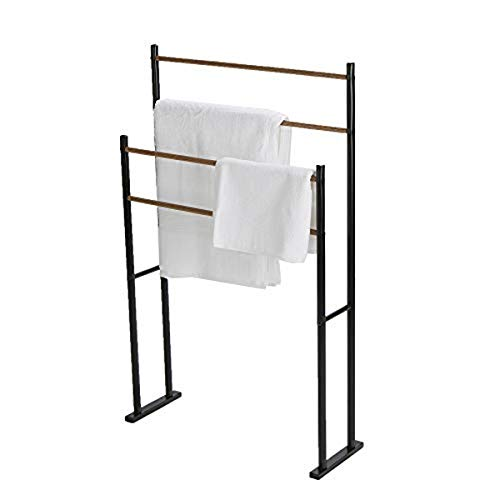 Mind Reader TBAR24-BLK 2 Tier Alone Bathroom Rack, Drying Stand, Towel Valet Holder, Metal, Black 4 Bar