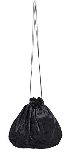 shoperama Samt-Beutel mit Zugband Tasche Täschchen Marquise Hexe Vampirin Piratin Kostüm-Zubehör Accessoire, Farbe:Schwarz
