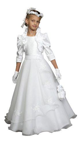 deine-Brautmode Annemarie Kommunionkleid mit Bolero aus Satin mit Organza und Spitze, Weiß 122