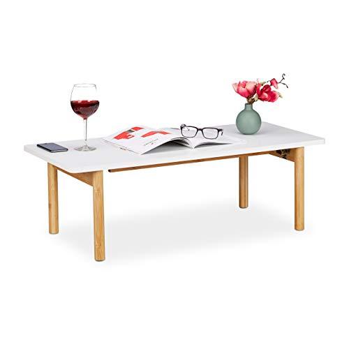 Relaxdays Couchtisch, 4 Bambus Beine, klappbarer Sofatisch, skandinavisches Design, HBT 32,5 x 100 x 44,5 cm, weiß/natur