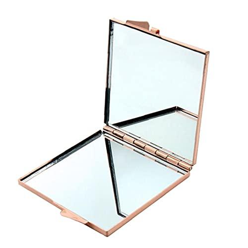 GGOOD Espejo de Maquillaje con Forma Cuadrada de Vidrio de Aspecto de Doble Cara para Las Mujeres Que Hacen cosmético Dorado.
