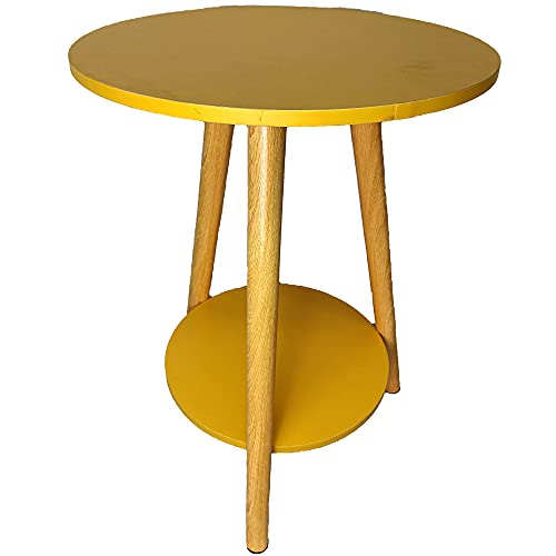 Mesa de café de madera, pequeña mesa redonda minimalista, decoración de doble capa, para mesa auxiliar auxiliar pequeña de color amarillo (39 x 39 x 51 cm)