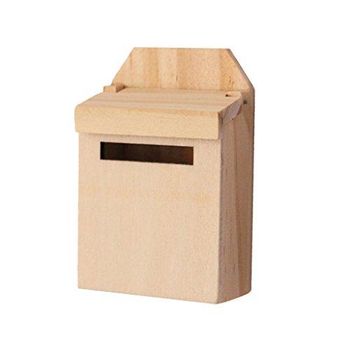 12.01 Holz Blau-Mailbox Mit Abziehbild Puppenhaus Miniatur Fee Gartendekoration - Natürlich