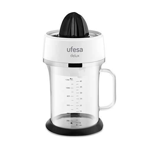 Ufesa EX4970- Exprimidor eléctrico con jarra de cristal de depósito 1,2L. Filtro de acero inoxidable, 2 conos de tamaño diferente y apto para lavavajillas. BPA Free