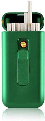 Zigarettenetui mit Feuerzeug Zigarettenschachtel Tragbar 20 Stück 100s Slim Cigarettes USB Feuerzeuge 2 in 1 wiederaufladbares flammenloses winddichtes elektrisches Feuerzeug