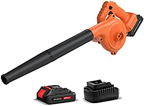 ENZOO Cordless Leaf Blower / Dust Vacuum 2-in-1 Designed for Light Yard Work and Hard Surface Sweeping Variable Speed MAX 20V Includes 2.0Ah Lithium-Ion Battery and Charger (Orange)
