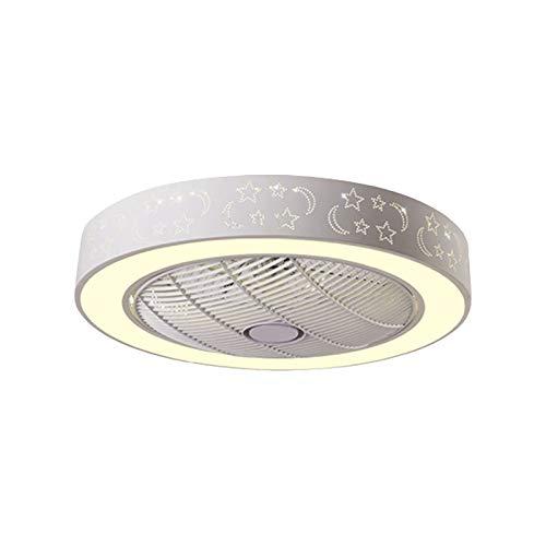 CIKO Luz LED empotrable Interior Blanca de 24 Pulgadas, con Ventilador de Techo Invisible, Cielo Estrellado, Pantalla de acrílico Decorada con Cuerpo de Metal