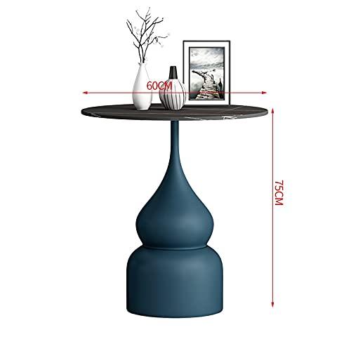 BINGFANG-W Mesa de café de Ocio nórdico Muebles de Sala de Estar Mesa Mesa Moderna Minimalista Restaurante Roca Tablero Lujo pequeña Mesa Redonda (Color : 75cm Blue Base B)